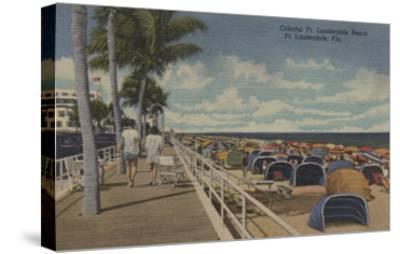 Ft. Lauderdale, Florida - View of Ft. L. Boardwalk-Lantern Press-Stretched Canvas Print