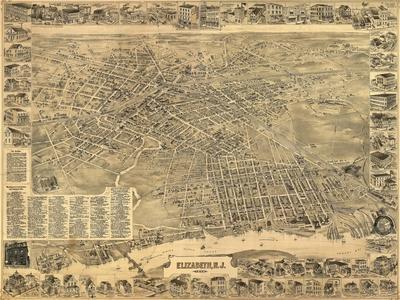 Elizabeth, New Jersey - Panoramic Map-Lantern Press-Stretched Canvas Print