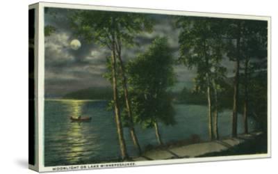 Lake Winnipesaukee, Maine - Moonlit Scene on the Lake-Lantern Press-Stretched Canvas Print