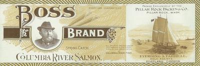 Pillar Rock, Washington - Boss Salmon Label-Lantern Press-Stretched Canvas Print