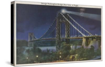 New York, NY - George Washington Bridge At Night-Lantern Press-Stretched Canvas Print