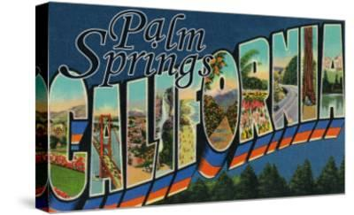 Palm Springs, California - Large Letter Scenes-Lantern Press-Stretched Canvas Print