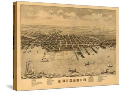 Muskegon, Michigan - Panoramic Map-Lantern Press-Stretched Canvas Print