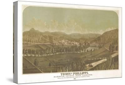 Philippi, West Virginia - Panoramic Map-Lantern Press-Stretched Canvas Print