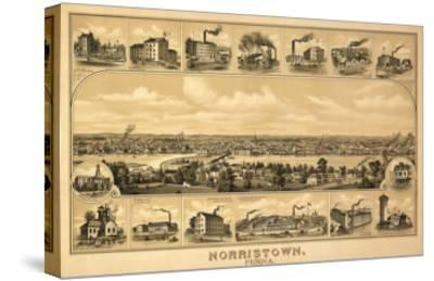 Norristown, Pennsylvania - Panoramic Map-Lantern Press-Stretched Canvas Print
