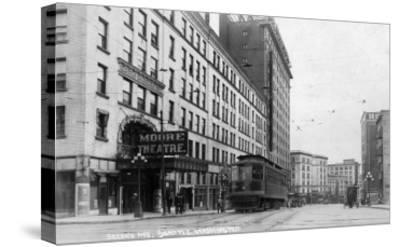 Seattle, Washington - Exterior View of Moore Theatre, Second Ave-Lantern Press-Stretched Canvas Print