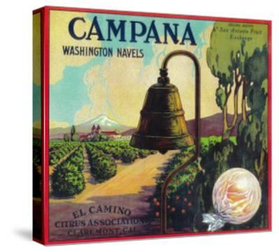 Campana Orange Label - Claremont, CA-Lantern Press-Stretched Canvas Print