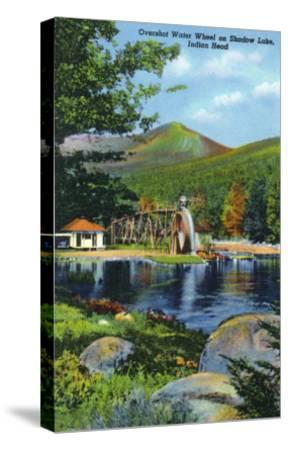 White Mountains, New Hampshire - Shadow Lake Overshot Water Wheel View-Lantern Press-Stretched Canvas Print
