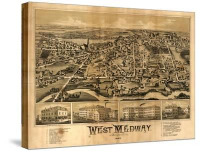 West Medway, Massachusetts - Panoramic Map-Lantern Press-Stretched Canvas Print