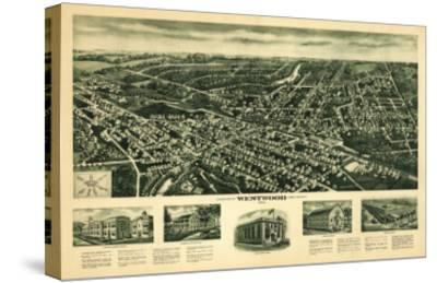 Westwood, New Jersey - Panoramic Map-Lantern Press-Stretched Canvas Print