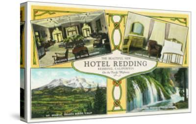 Hotel Redding Interior Views with Scenic Sites - Redding, CA-Lantern Press-Stretched Canvas Print