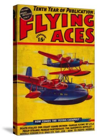 Flying Aces Magazine Cover-Lantern Press-Stretched Canvas Print