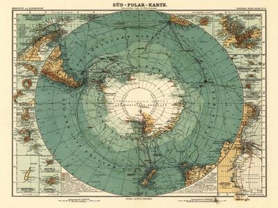 Panoramic Map of Antarctica - Anartica-Lantern Press-Stretched Canvas Print
