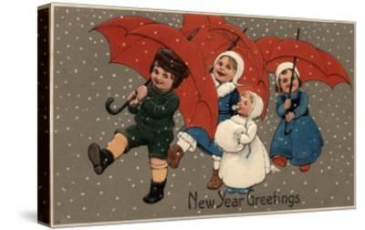 New Year Greetings - Little Kids with Umbrellas-Lantern Press-Stretched Canvas Print