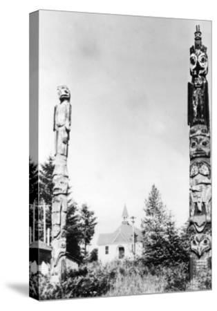St. Phillips Church and Totems at Wrangell, AK Photograph - Wrangell, AK-Lantern Press-Stretched Canvas Print
