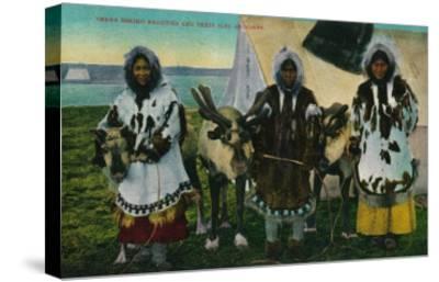 Three Eskimo Beauties and Sled Reindeer - Alaska State-Lantern Press-Stretched Canvas Print