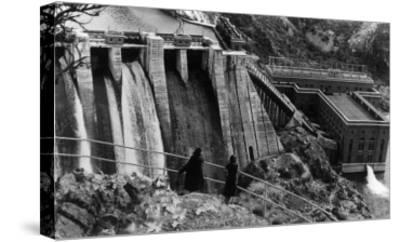 Aerial View of Long Lake Dam - Spokane, WA-Lantern Press-Stretched Canvas Print
