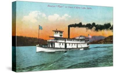 View of the Steamer Flyer on the Lake - Coeur d'Alene, ID-Lantern Press-Stretched Canvas Print