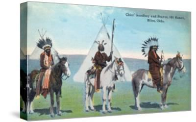 101 Ranch View of Chief Goodboy and Braves - Bliss, OK-Lantern Press-Stretched Canvas Print