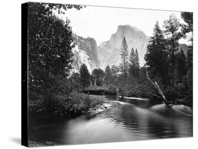 Yosemite National Park, Valley Floor and Half Dome Photograph - Yosemite, CA-Lantern Press-Stretched Canvas Print
