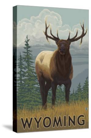 Elk Scene - Wyoming-Lantern Press-Stretched Canvas Print