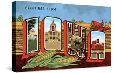 Greetings from Iowa--Stretched Canvas Print