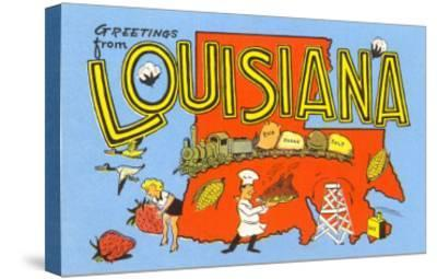 Greetings from Louisiana--Stretched Canvas Print