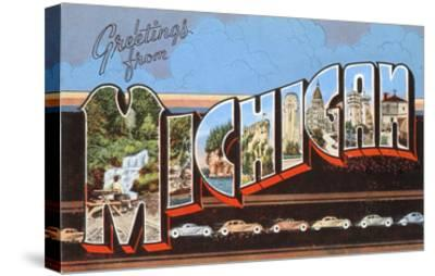 Greetings from Michigan--Stretched Canvas Print
