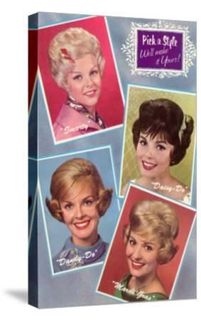 Hair Styles, Retro--Stretched Canvas Print
