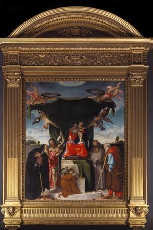 Madonna Del Baldacchino-Lorenzo Lotto-Stretched Canvas Print
