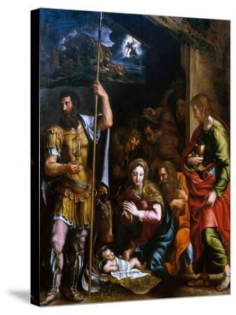 Adotation of the Shepherds with the Saints Longinus and John the Evangelist-Giulio Romano-Stretched Canvas Print