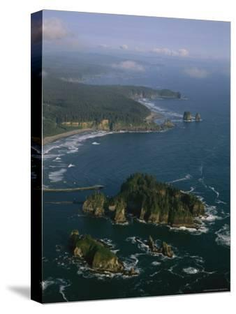 Aerial View of Washington's Coastline with Sea Stacks-Melissa Farlow-Stretched Canvas Print