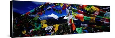 Buddhist Prayer Flags Framing Mt Miacimu, Meili Xueshan Mountain Range-Richard I'Anson-Stretched Canvas Print