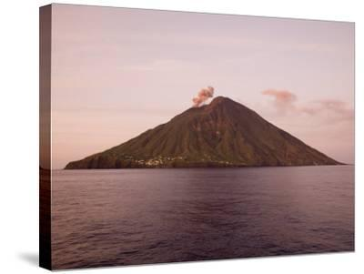 Smoke Coming Out of Stromboli Volcanic Island-Holger Leue-Stretched Canvas Print