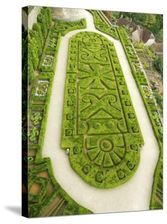 Overhead of English Style Garden from Tower of Brittany, Chateau De Hautefort-Mark Avellino-Stretched Canvas Print