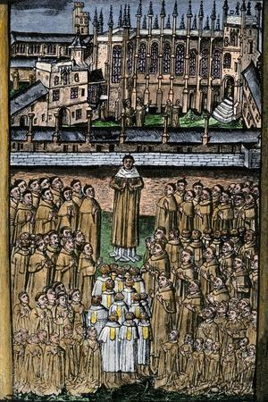 New College, Oxford, and its One Hundred Clerics, c.1453--Stretched Canvas Print
