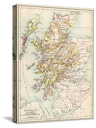 Map of Scotland in the 1520s, Showing Territories of the Highland Clans--Stretched Canvas Print
