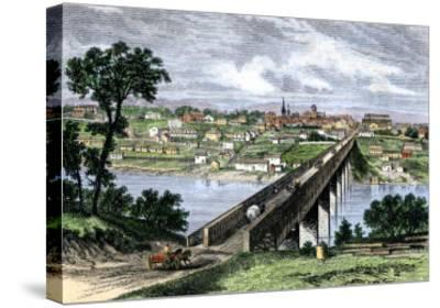 Bridge across the Tennessee River at Knoxville, 1870s--Stretched Canvas Print