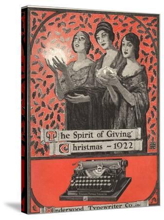 Underwood, Underwood Typewriters, USA, 1920--Stretched Canvas Print