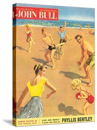 John Bull, Holiday Cricket Beaches Seaside Magazine, UK, 1950--Stretched Canvas Print