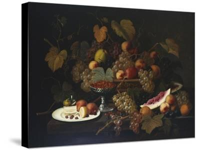 Still Life with Fruit, 1852-Severin Roesen-Stretched Canvas Print