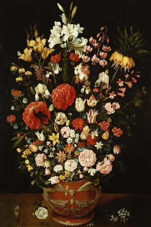 Tulips, Lillies, Irises, Roses, Carnations, Peonies, and Other Flowers in a Sculpted Terracotta Urn-Osias Beert-Stretched Canvas Print
