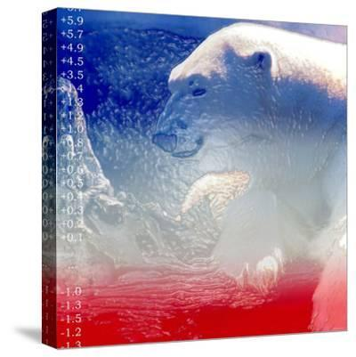 Digital Montage of a Polar Bear with Temperature Readings--Stretched Canvas Print