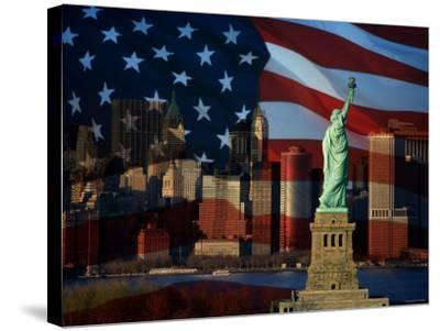 Skyline View with the Statue of Liberty Landmark and American Flag Background in New York City--Stretched Canvas Print