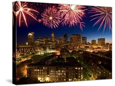 Celebration with Exploding Fireworks over Skyline of Boston, Massachusetts--Stretched Canvas Print