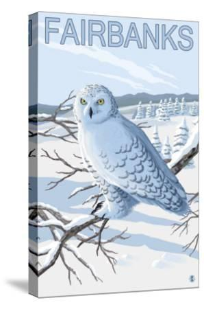 Fairbanks, Alaska, Snowy Owl Scene-Lantern Press-Stretched Canvas Print
