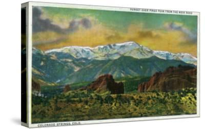 Colorado Springs, CO, Sunset over Pikes Peak View from the Mesa Road-Lantern Press-Stretched Canvas Print