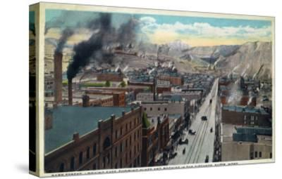 Butte, Montana, Eastern Aerial View of Park Street, Mines and Rockies in Distance-Lantern Press-Stretched Canvas Print