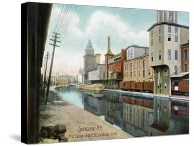 Syracuse, New York, Eastern View down West Street on the Erie Canal-Lantern Press-Stretched Canvas Print
