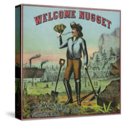 Virginia, Welcome Nugget Brand Tobacco Label-Lantern Press-Stretched Canvas Print